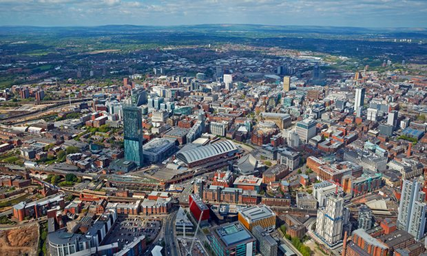 An aerial view of Manchester: together with Sheffield and Leeds it needs to become a powerhouse region, says Coyle. Photograph: Allan Baxter/Getty Images